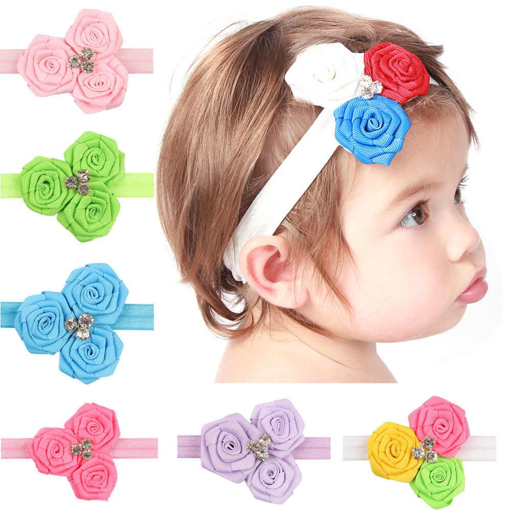 Baby girl ヘッドバンド幼児髪は布ネクタイ弓新生児帽子 headwrap ギフト幼児包帯リボン花クリスタル