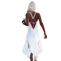 Casual Summer Dress Women 2018 Lace Beach Dresses Vintage Hippie Boho Vestido Longo Beach for Woman Cloth Loose Backless