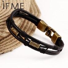Black Brown Gold Color Fashion Latin Rope Chain Leather Bracelet And Hide Metal Buckle Decoration Retro Bracelets For Man