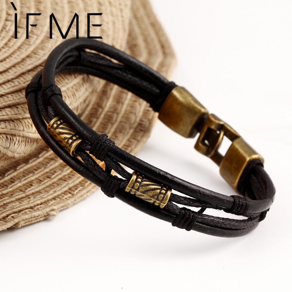 Black Brown Gold Color Fashion Latin Rope Chain Leather Bracelet And Hide  Metal Buckle Decoration Retro