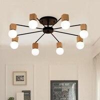 Nórdico de madeira moderna conduziu a luz de teto para casa sala estar quarto luzes plafon conduziu a lâmpada do teto luminária plafonnier