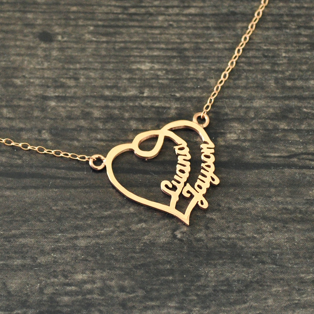 Personalized Heart Name Necklace, Couples Name necklace, Name Heart Necklace,Gift for Her,Custom Necklace