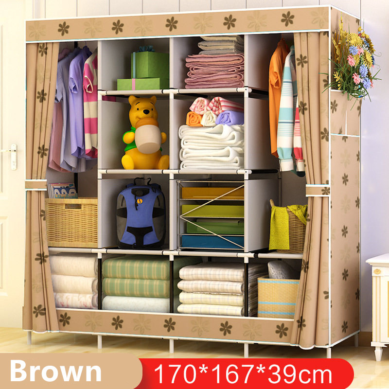 Non-woven Wardrobe Closet Large And Medium-sized Cabinets Simple Folding Reinforcement Receive Stowed Clothes simple fashion moistureproof sealing thick oxford fabric cloth wardrobe rustproof steel pipe closet 133d