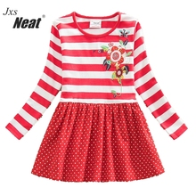 2016 Retail Neat long sleeved baby girl clothes princess girl party dress kids clothes girl Floral Embroidery dresses LH5908