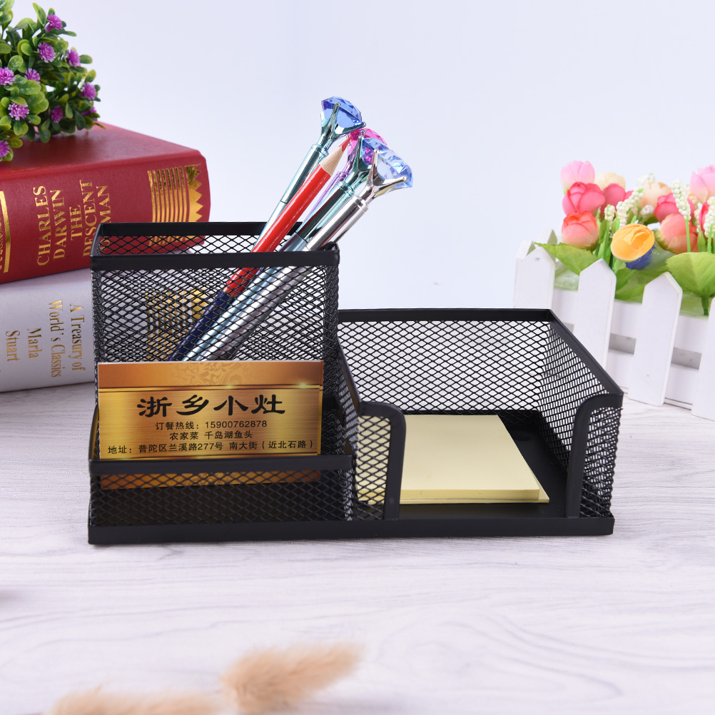 Affordable Students Office Desk 3 Compartments Metal Pen Holder Black School Stationery Supplies