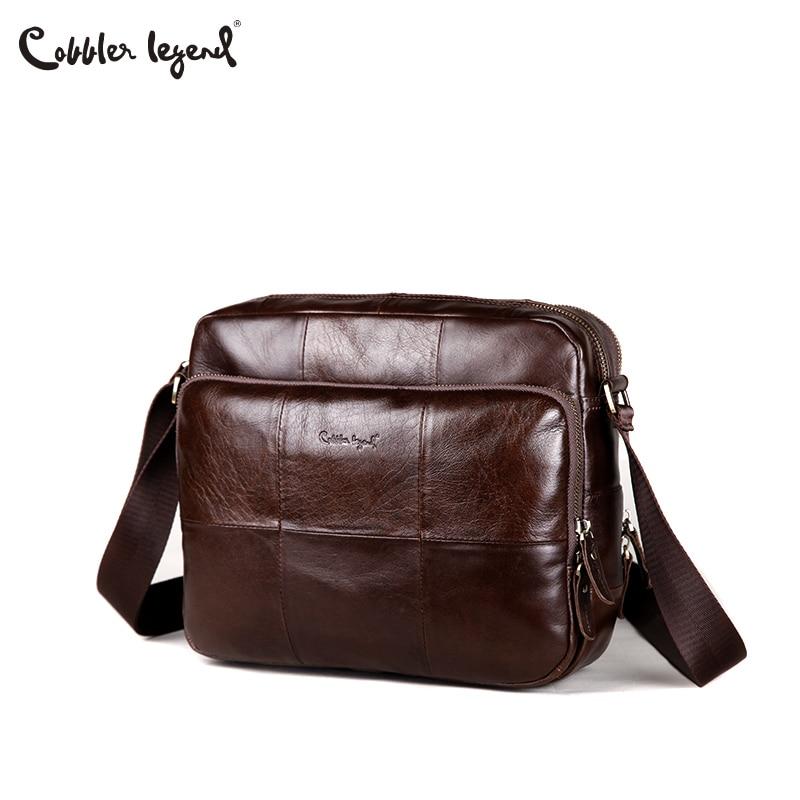 Cobbler Legend Vintage Multifunctional Big Mens Genuine Leather Messenger Bag Crossbody Working Field Bag Travel Ipad Classic cobbler legend 2015 messenger 100
