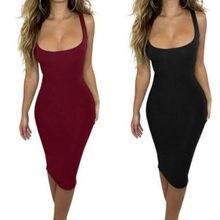 a8e816e26 Mujeres Casual verano Mini vestido partido noche Bodycon sin mangas mujeres  sólido negro vino rojo Camiseta cuello