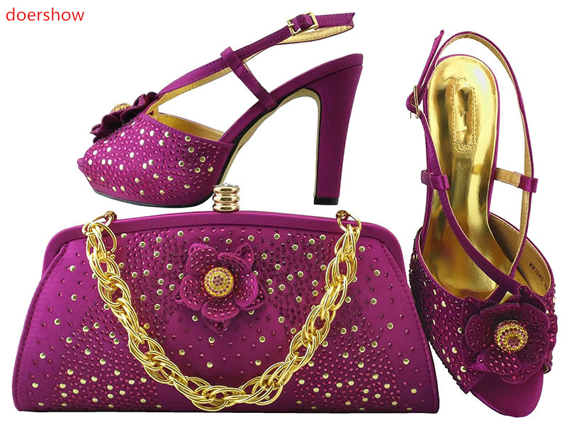 doershow Italian Shoes with Matching bags For party purple Shoes And Bags to match set high quality LULU1-21 doershow italian shoes with matching bags for party shoes and bags to match set high quality lady matching shoes and bag hzo1 10