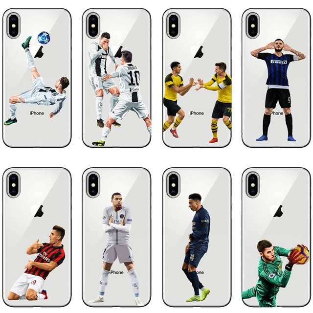 Cristiano Ronaldo Mbappe pogba Neymar jr Phone Case Cover For iPhone 7 8 Plus 6 6s 5s SE X XS MAX XR 10 7Plus Soft TPU Capa