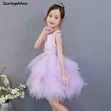 купить Purple Flower Girl Dresses for Weddings Lace Ball Gown White First Communion Dress For Girls Kids Evening Party Dress 2018 по цене 5284.75 рублей