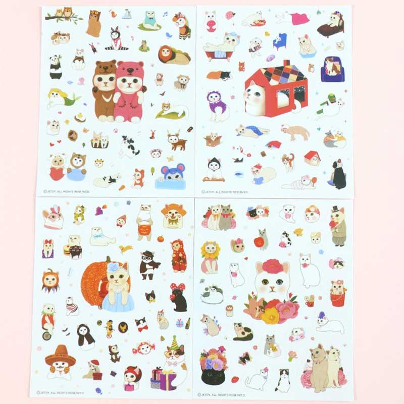 4 Pcs Different Sheets Cartoon Pet Children Sticker Toys Cats DIY Stickers PVC Scrapbook Gifts For Kids