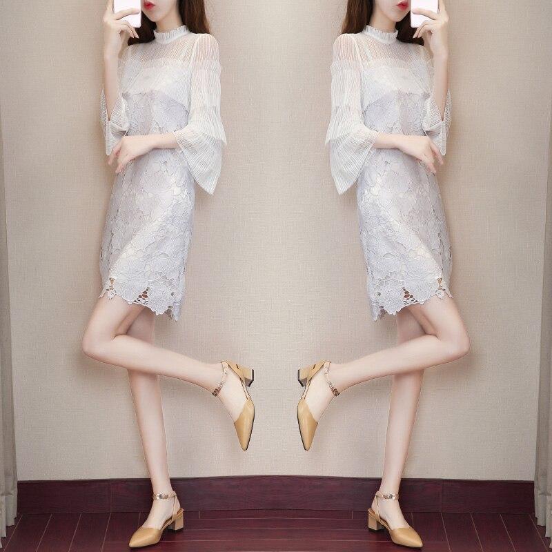 Taille haute dentelle été robe 2018 nouveau style coréen Slim trois quart manches o-cou robe de soirée femmes doux frais vêtements 271