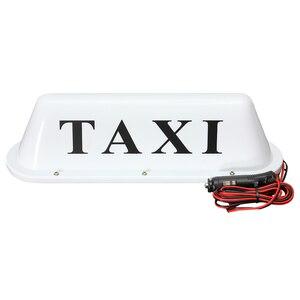 Image 3 - PVC imperméable blanc de la lampe 12V de lumière de pancarte LED de cabine de voiture de toit de Base magnétique de Taxi