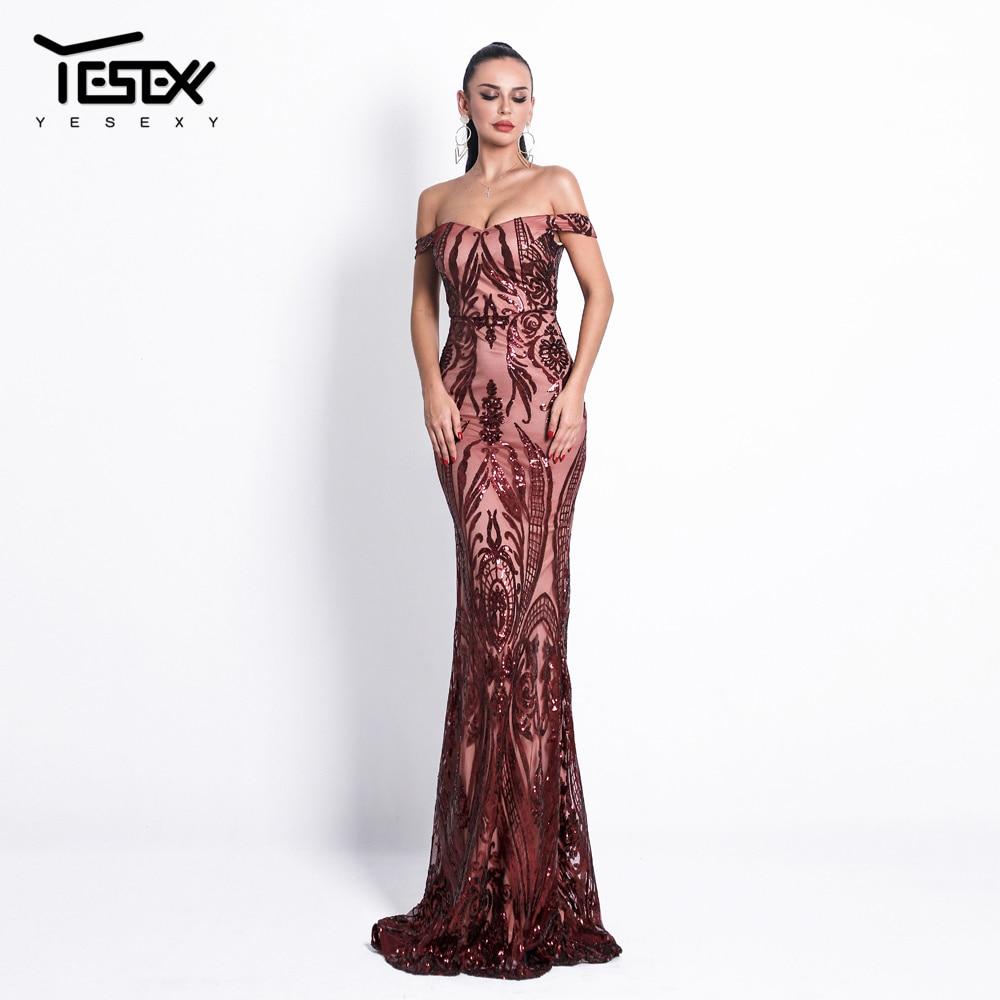 Yesexy 2019 Women Sexy Bra Off Shoulder Dresses Female Backless Sequin Elegant Maxi Party Dress Vestdios