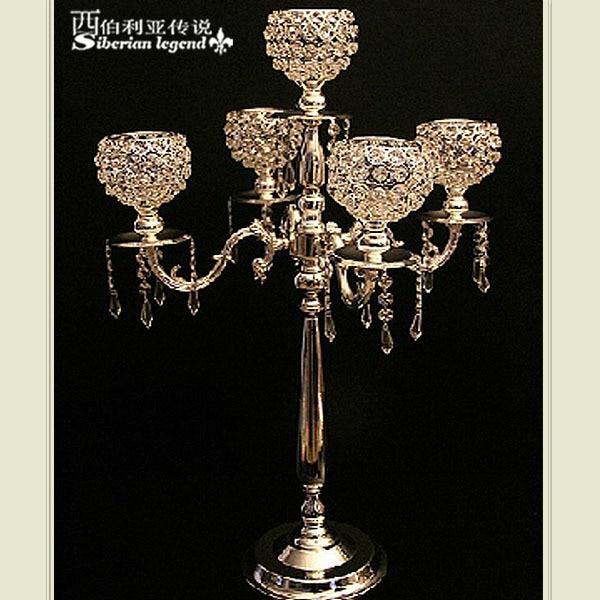 Popular wedding candelabra wedding centerpiece 5 big crystal candle holder wedding decoration 10 pcs/lot