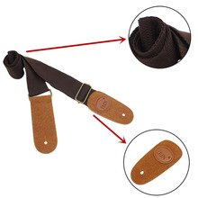Adjustable Guitar Belt Woven Cotton Guitar Strap with Leather Ends for Electric Acoustic Folk Guitar Comfortable