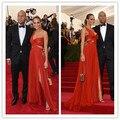 Mgc10 знаменитости платья встретился гала ханна дэвис халат де вечер красный одно плечо боковой разрез вечернее ну вечеринку платья