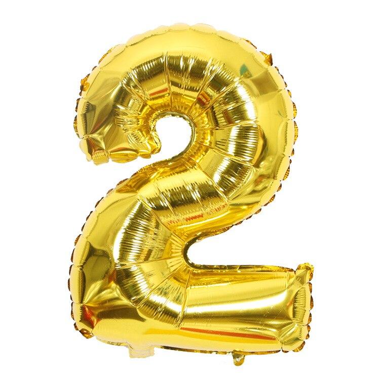 Золотой Серебряный 32 дюйма 0-9 большой гелиевый цифровой воздушный шар фольги Детский праздник день рождения вечеринка для детей мультфильм шляпа игрушки - Цвет: gold 2