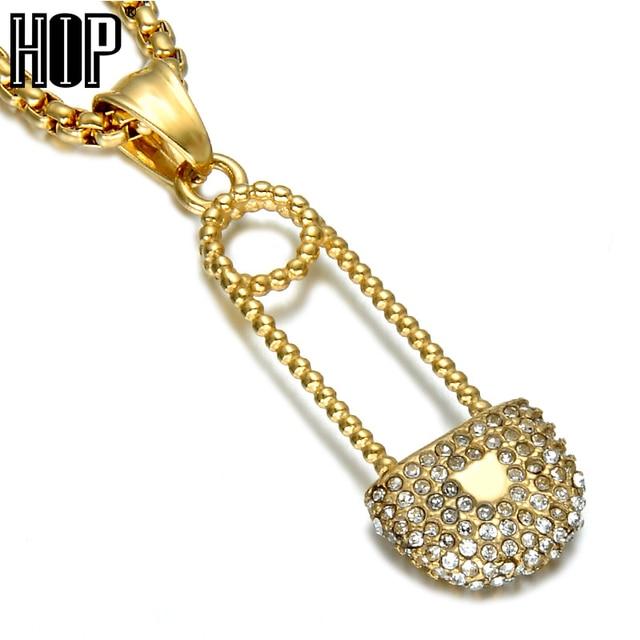 Hip hop bling iced out pin lock men pendants necklaces gold color hip hop bling iced out pin lock men pendants necklaces gold color stainless steel titanium crystal aloadofball Image collections