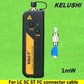 KELUSHI 1 mW Visual Fault Locator Fiber Optic Cable Tester LC/FC/SC/ST Adaptador de luz Roja de prueba de fibra óptica del detector de fallos