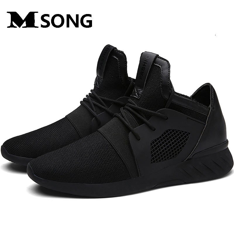 MSONG Summer font b Men s b font Shoes Black Flat Shoes Fashion Mesh Casual Soft