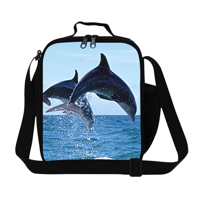 Stylish shark lunch bag for girls school,3D dolphins print insulated lunch bags for teens,resuable lunch box bag for children