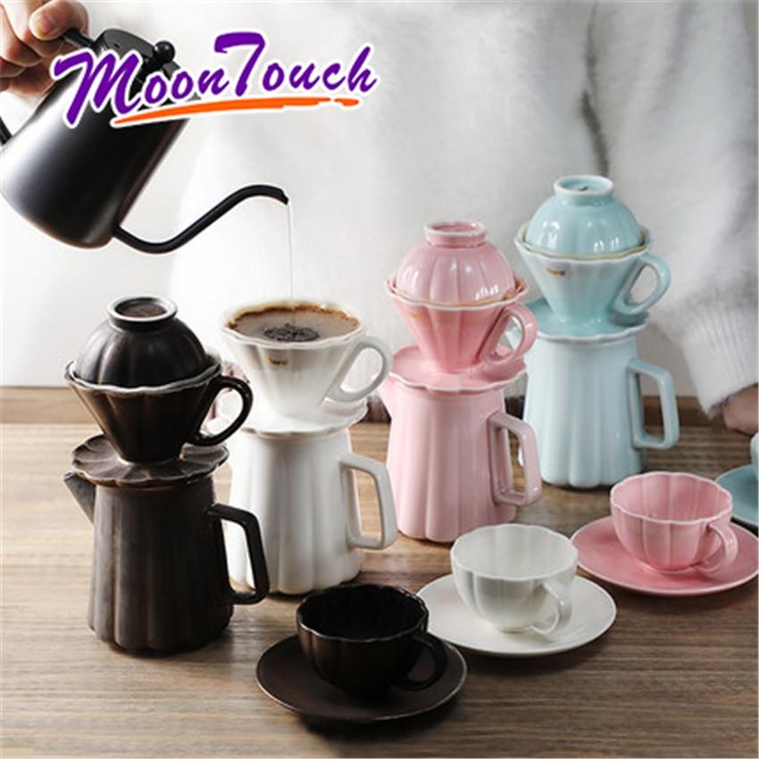 Tasse de filtre à café en céramique goutte à goutte Barista verser sur la cafetière brassage goutteur gâteau-tasse café filtre papier café outil accessoires