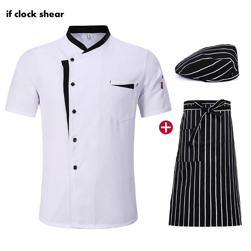 M-4XL Short Sleeve Chef Restaurant Hotel Uniform Kitchen Workwear Breathable Catering Work Clothes Jacket +Hat +Apron Wholesale