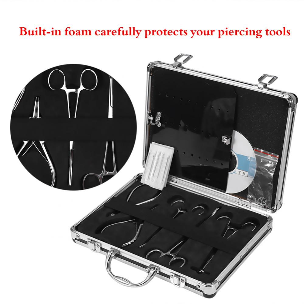 Professional Tattoo Body Piercing Tool Kit For Navel Ear Tongue Tattoo Gun Equipment Piercing Jewelry,Pliers, Needles,Case Set stainless steel ear lip navel nose tongue septum sponge forceps clamp body piercing pliers tool