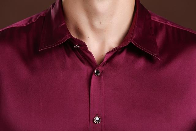 High-end Men's Business Shirt 100% silk Long-sleeved Stretch Silk Satin Tops Comfort Authentic Silk Casual Dress Men's Shirt z02