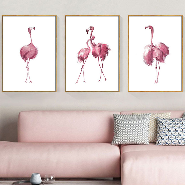 Minimalist Pink Flamingo Wall Art Watercolour Canvas Posters And Prints Beautiful Painting Nursery Room