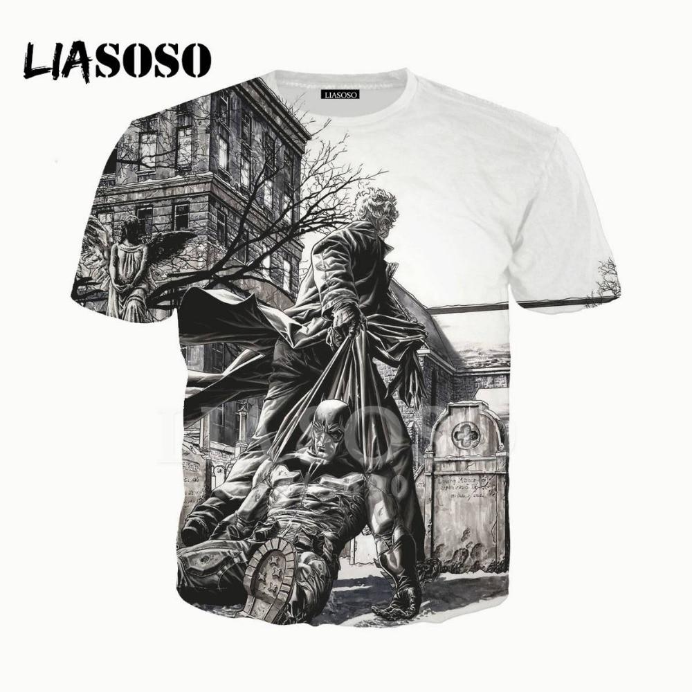 LIASOSO 3D принт унисекс супергерой Бэтмен Брюс Уэйн Темный Рыцарь футболка Летняя футболка Harajuku пуловер брендовая Молодежная X1772