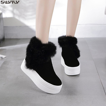SWYIVY Genuine Leather Boots Women Winter Warm Rabbit Fur Sneakers Platform Snow Boots Women 2019 Ankle Boots Female Causal Shoe