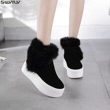 SWYIVY بوط من الجلد الطبيعي النساء الشتاء الدافئة الأرنب الفراء أحذية رياضية منصة الثلوج أحذية النساء 2019 حذاء من الجلد الإناث السببية