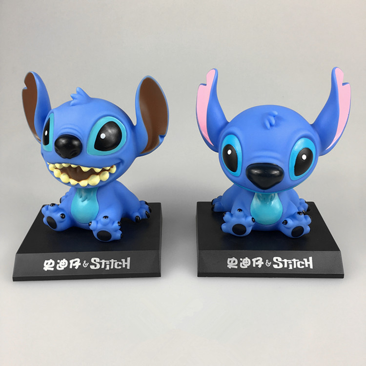 Cartoon Anime Lilo And Stitch Figure Cute Stich 11cm Bobble Head Dolls Anime PVC Action Figure Model Toys For Kid Car Decoration