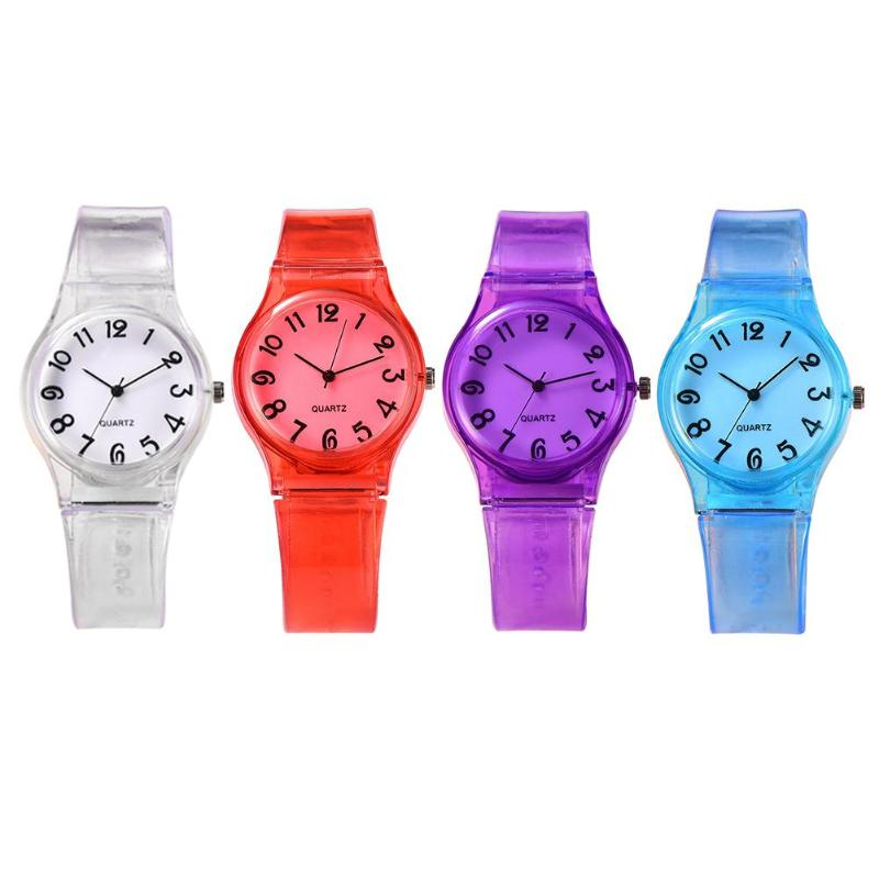 Kids Watches Lovely Cute Pure Color Silicone Strap Analog Quartz Watch Casual Children Boys Girls Students Watch Clock Gift