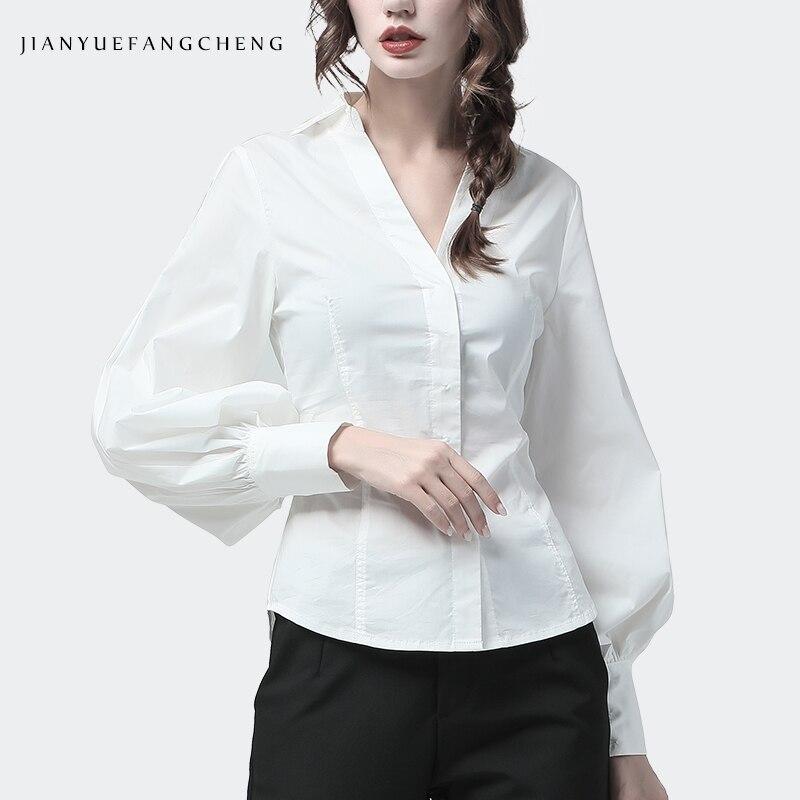 OL White Blouse Cotton Office Formal Dress Top Lantern Sleeve V Neck Slim Waist Plus Size S-4XL Elegant Ladies Work wear Shirts