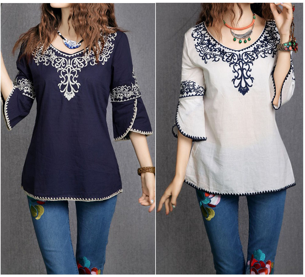 2019 New Women Cotton 3/4 Sleeve Fashion Ethnic Totem Pattern Embroidered Bordered Ladylike Tops   Blouse     Shirts   Free Shipping