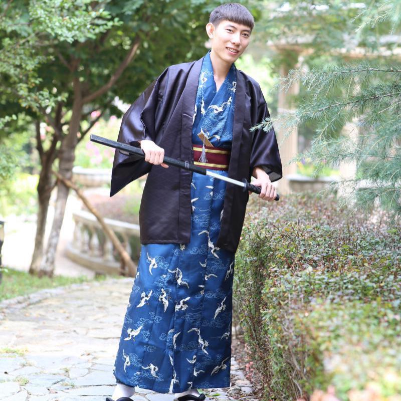 Autumn Winter New Men Clothing Japanese Style Kimono Male Formal Wear Traditional Cospaly Costumes Yukata Haori Warrior Clothes