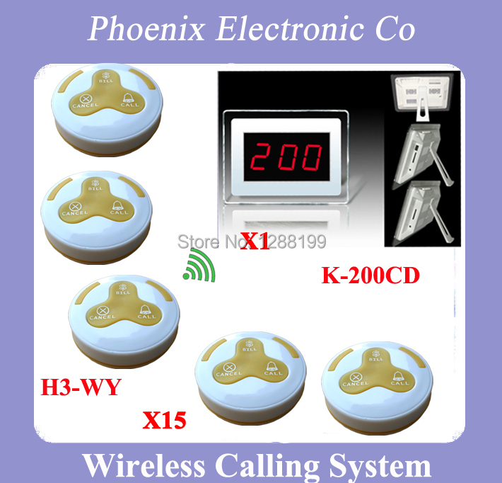 Guest Pager For Wireless Restaurant Paging System 15 Buzzer Button H3-WY And 1 Wireless Receiver P-200CD One Year Warranty Time 1 watch receiver 8 call button 433mhz wireless calling paging system guest service pager restaurant equipments f3258