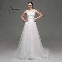 Wit A-lijn Floor organza trouwjurk Voor Bruiloft gelegenheden met Kristallen SH0237