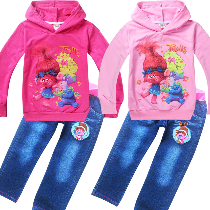 2017 Spring Autumn clothes suits Trolls poppy jeans for girls hoodies T shirts 2pcs set kids clothing children costumes  4-10Y
