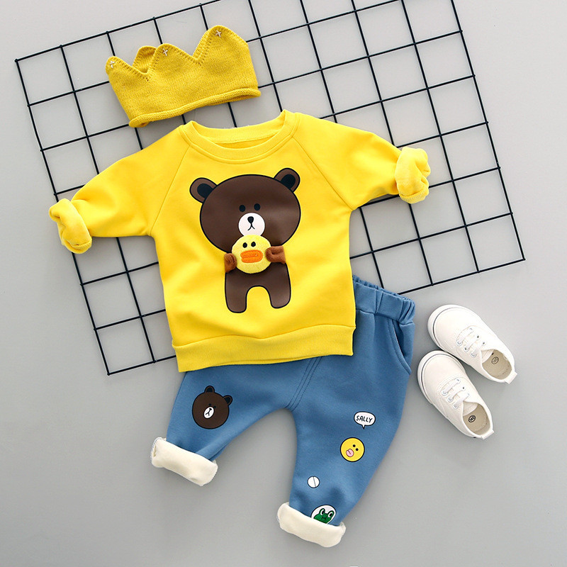 Thicken Warm Baby Boy Girl Clothing Set Winter Cartoon Bear Kids Boys Clothes Long Sleev tshirt+Jeans Children Girls Clothes