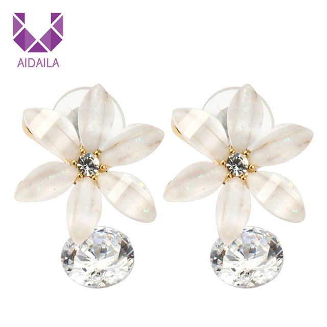 872ac60d2 Flower Resin Dangle Drop Earrings for Ladies with Zircon Cubic Zirconia  Fashion Jewelry Beautiful Fashion Popular High Quality