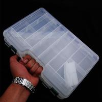 LumiParty Portable Double Sided Plastic Lure Box with Adjustable Dividers High Capacity Fishing Tackle Container