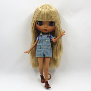 Image 2 - Special Price Blyth Joint body Nude Doll straight blond hair with/without bangs new matte shell dark Skin 30cm Suitable For DIY
