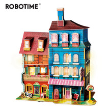 Robotime New DIY Lost in Colmar Doll House with Led Light Children Adult Miniature Wooden Model Building Dollhouse Toy SJ401(China)