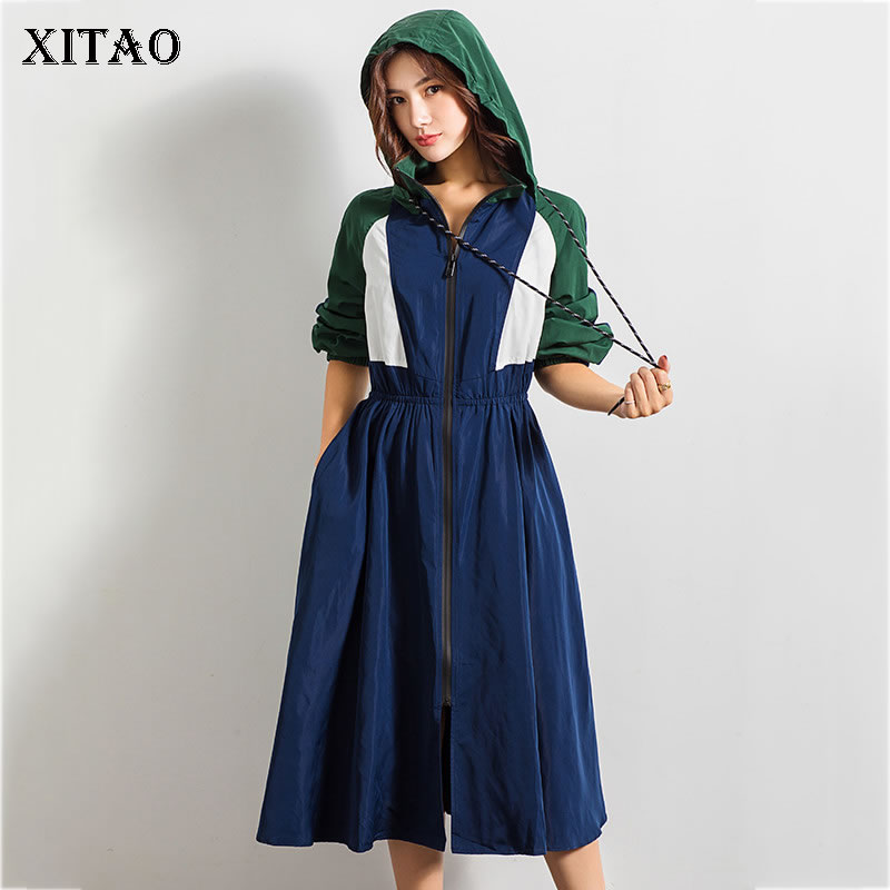 XITAO Thin Hoodie Trench Women Clothes 2019 A Line Patchwork Waist Wild Joker Pocket Drawstring Pleated Long Autumn WBB4396