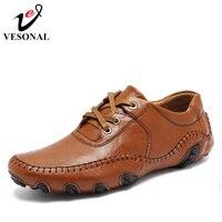 VESONAL Hot Sale 2017 Autumn Winter Fur Men Shoes Casual Male Adult Genuine Leather Brand Walking