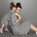 New arriving Mother and Children's Cotton Dresses Casual Striped Dresses
